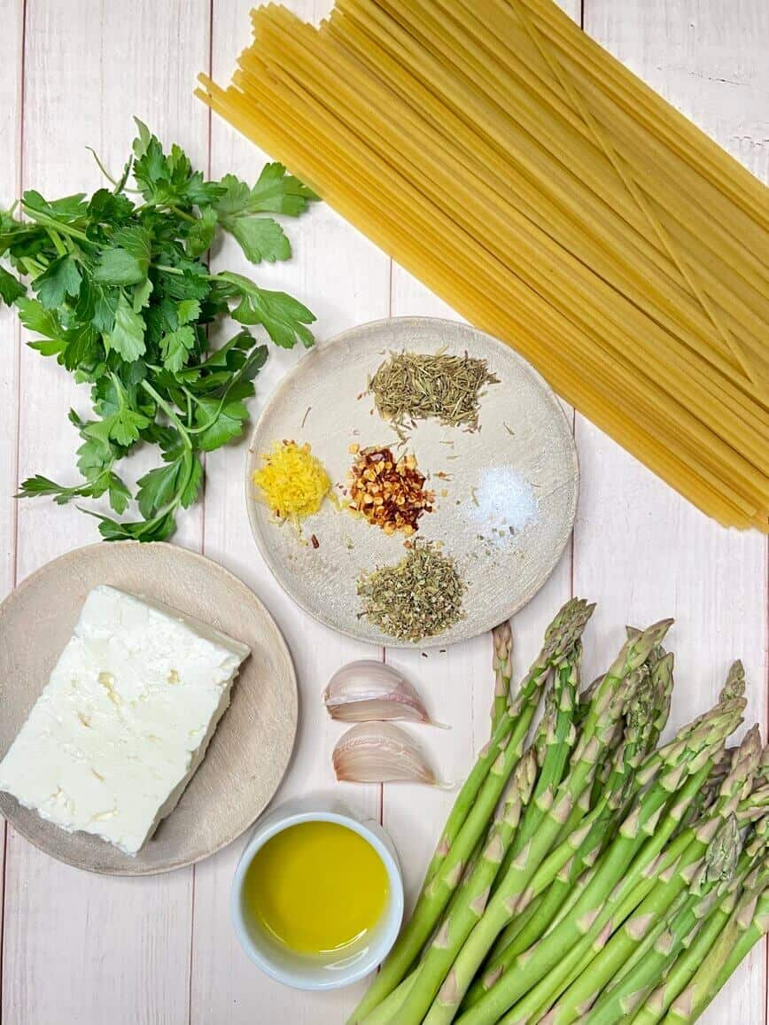 Pasta With Feta Cheese And Asparagus (Photo by Erich Boenzli)
